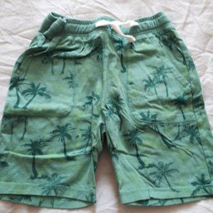 H&M Jersey Cotton Shorts Green Palm Trees Boys 6-7